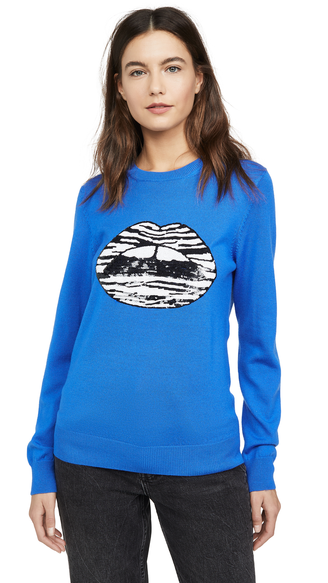 Buy Markus Lupfer online - photo of Markus Lupfer Mia Zebra Stripe Sequin Lip Sweater