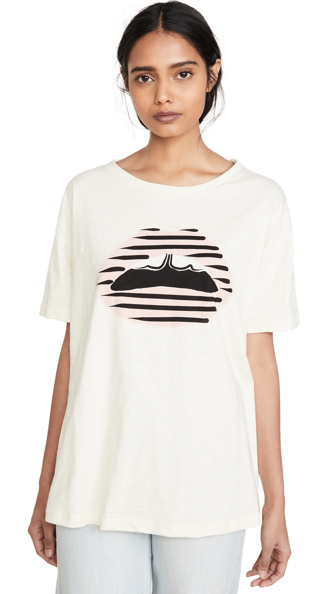 Buy Markus Lupfer online - photo of Markus Lupfer Alyssa Printed Stripe Lip Tee