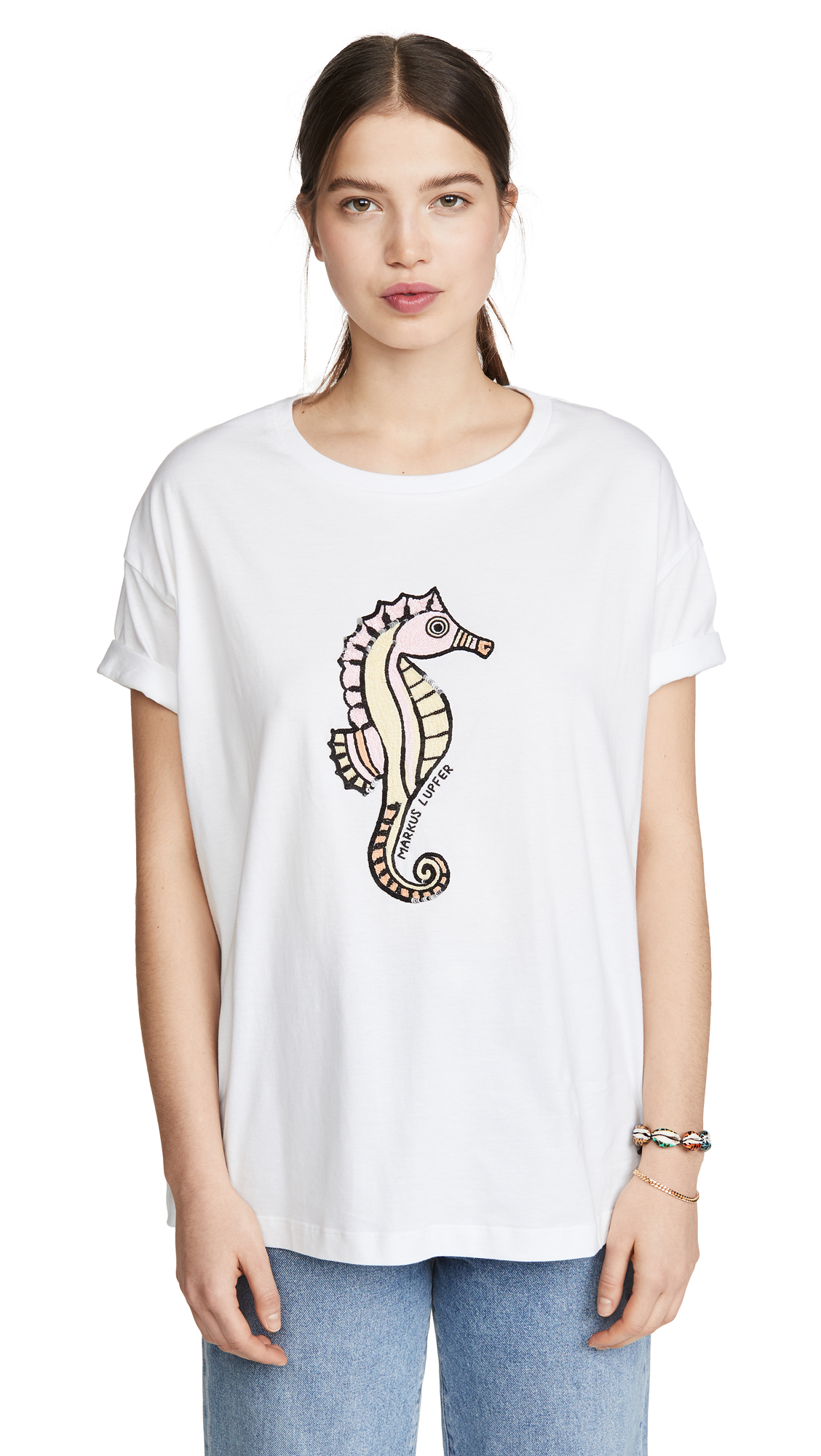 Buy Markus Lupfer online - photo of Markus Lupfer Alyssa Sequin Seahorse Tee