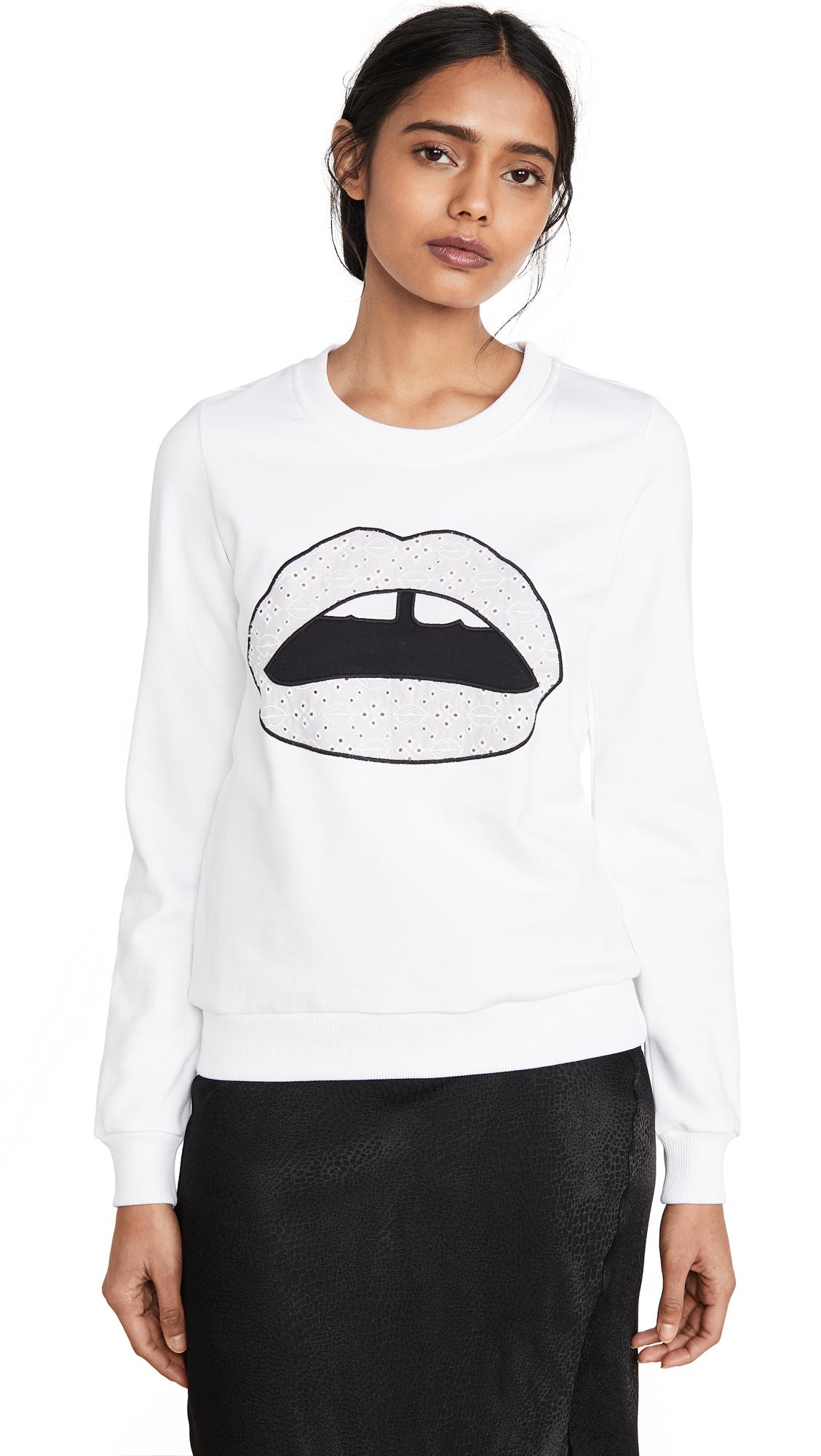 Markus Lupfer Leonie Broderie Anglaise Iconic Lip Sweatshirt – 40% Off Sale