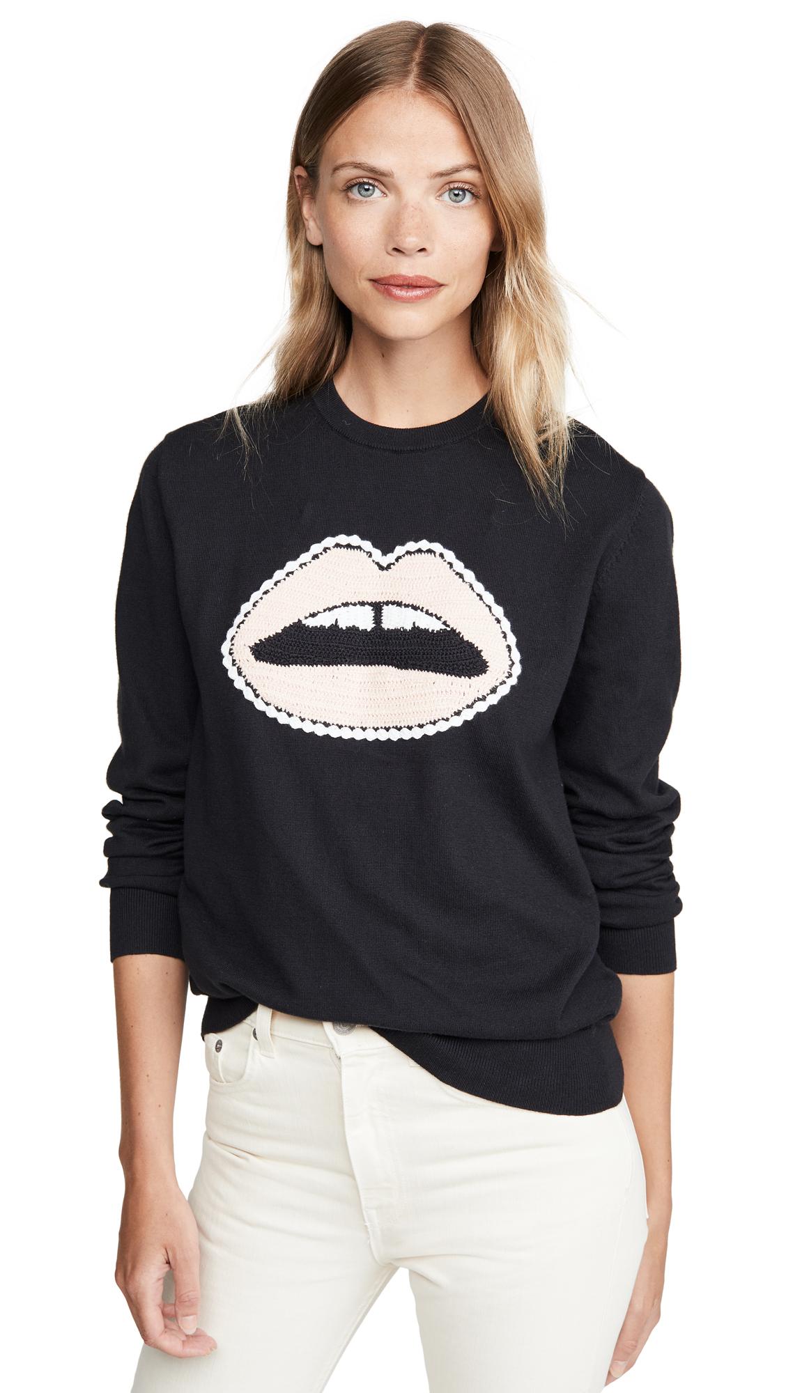 Buy Markus Lupfer online - photo of Markus Lupfer Mia Crochet Lip Sweatshirt