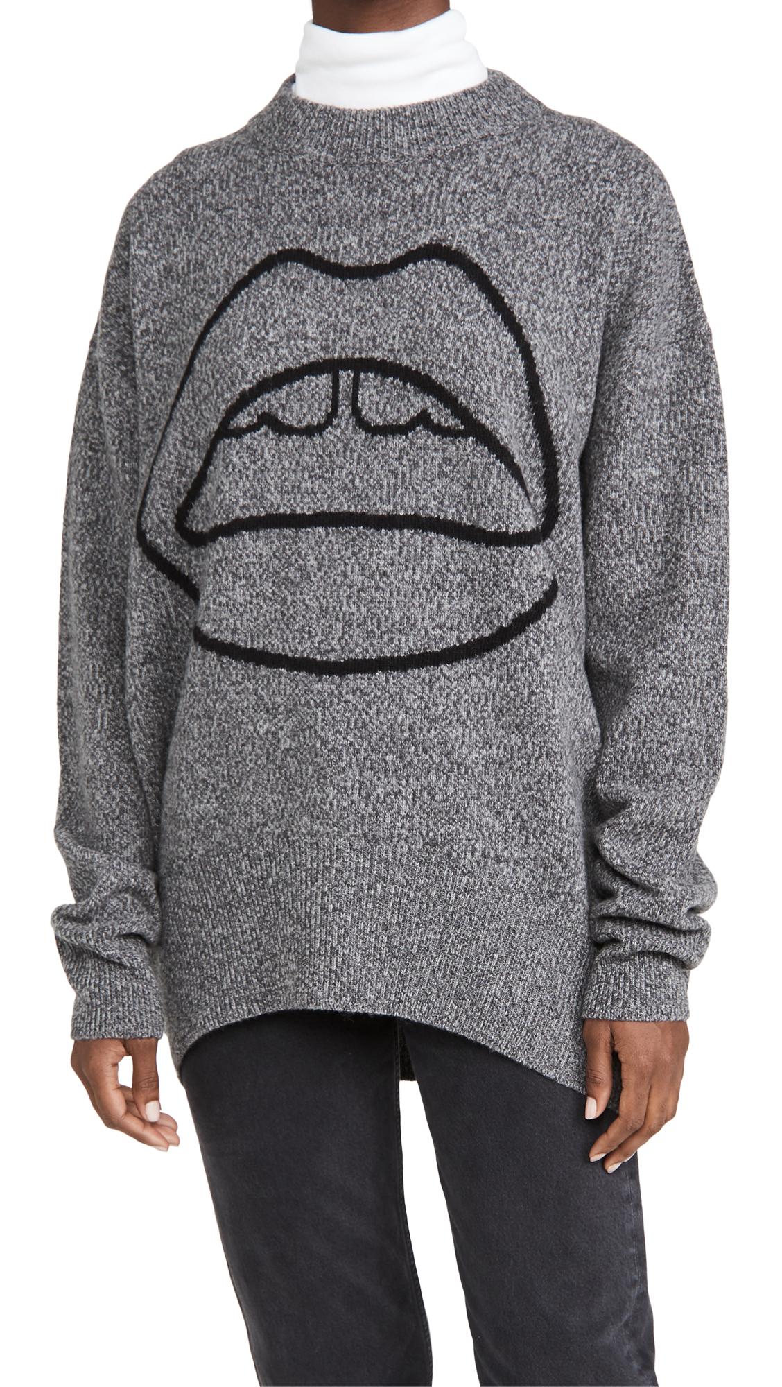 Markus Lupfer Erin Melange Lip Crew Neck Sweater