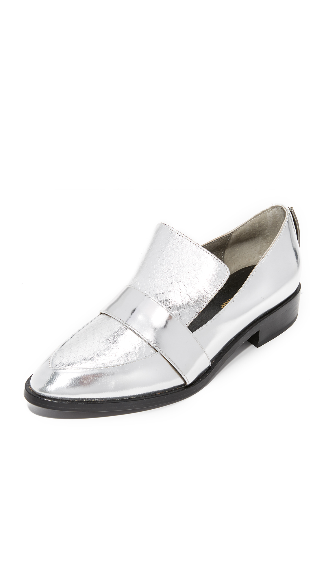 Mara & Mine Camilla Metallic Loafers - Silver