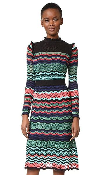 M Missoni Ruffle Neck Midi Dress