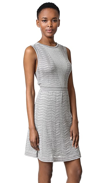 M Missoni Solid Metallic Zigzag Dress