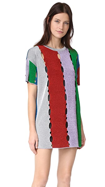 M Missoni Metallic Stripe T Shirt Dress