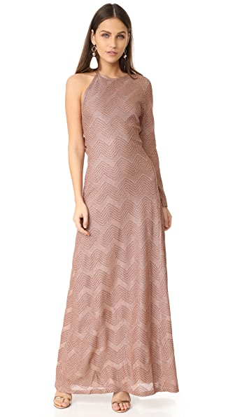 M Missoni Lurex One Shoulder Maxi Dress
