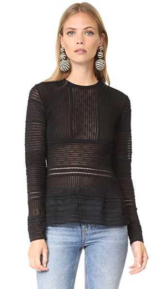 M Missoni Long Sleeve Peplum Blouse