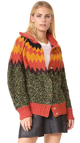 M Missoni Fair Isle Cardigan In Brick
