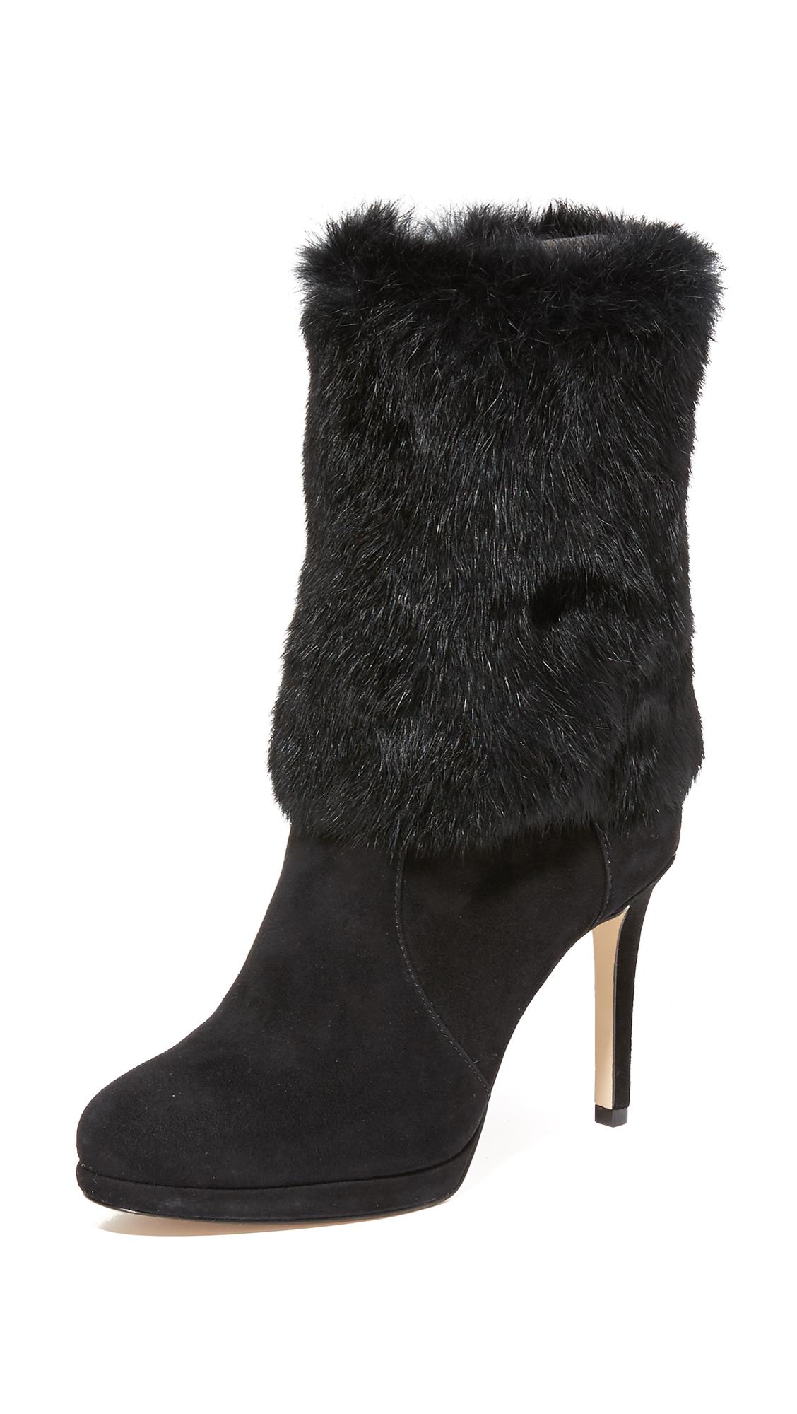 Michael Michael Kors Faye Fur Boots - Black