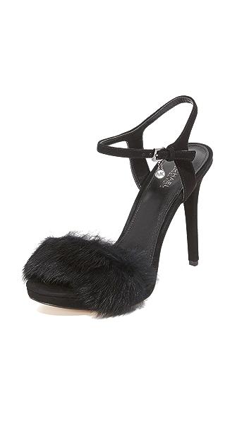 MICHAEL Michael Kors Faye Fur Sandals - Black