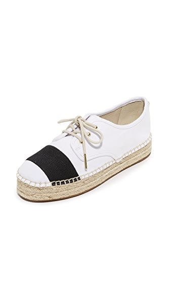 MICHAEL Michael Kors Ivy Lace Up Espadrilles - Optic White/Black