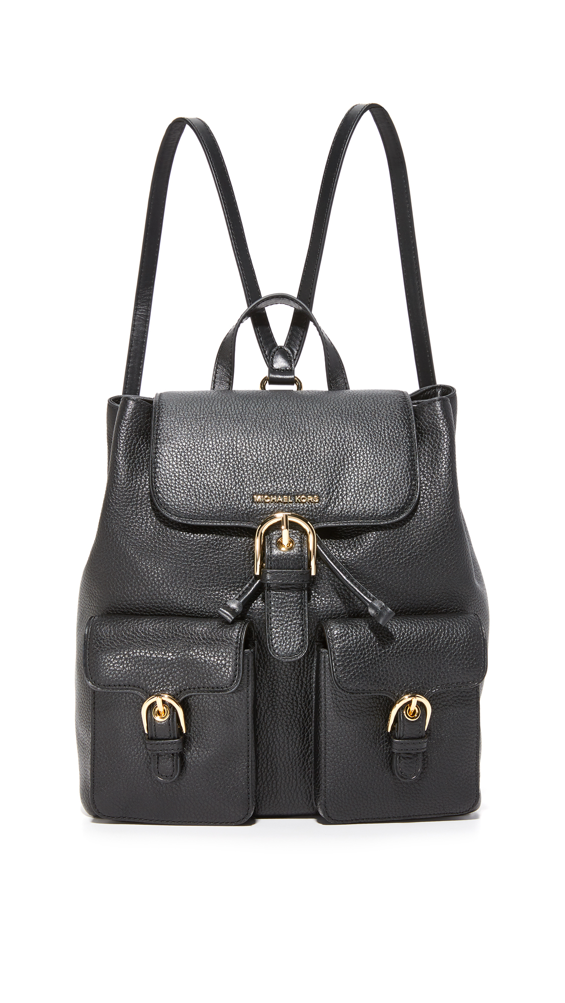 Two pouch pockets with decorative buckles lend a vintage inspired touch to this leather MICHAEL Michael Kors backpack. Slim back pocket. A hidden push lock secures the top flap. Lined, 4 pocket interior. Locker loop and adjustable
