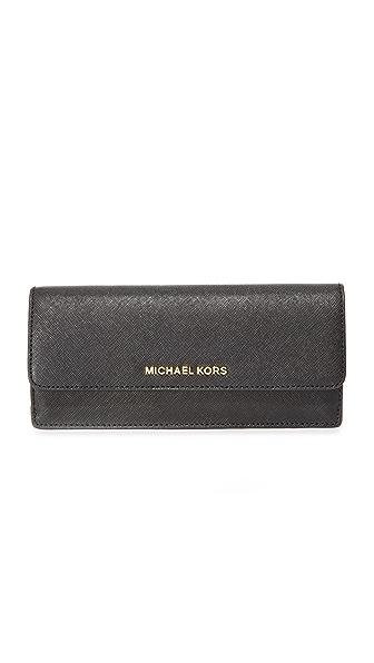 MICHAEL Michael Kors Jet Set Flat Wallet In Black