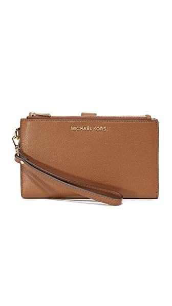 MICHAEL Michael Kors Adele Double Zip Wristlet - Luggage