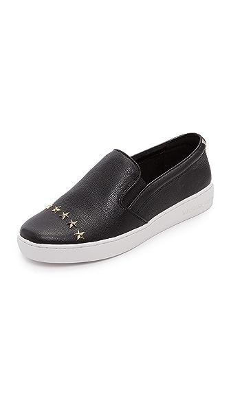 MICHAEL Michael Kors Keaton Star Studded Platform Slip On Sneakers - Black/Pale Gold