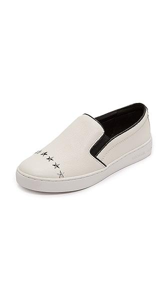 MICHAEL Michael Kors Keaton Star Studded Platform Slip On Sneakers - Optic White/Silver