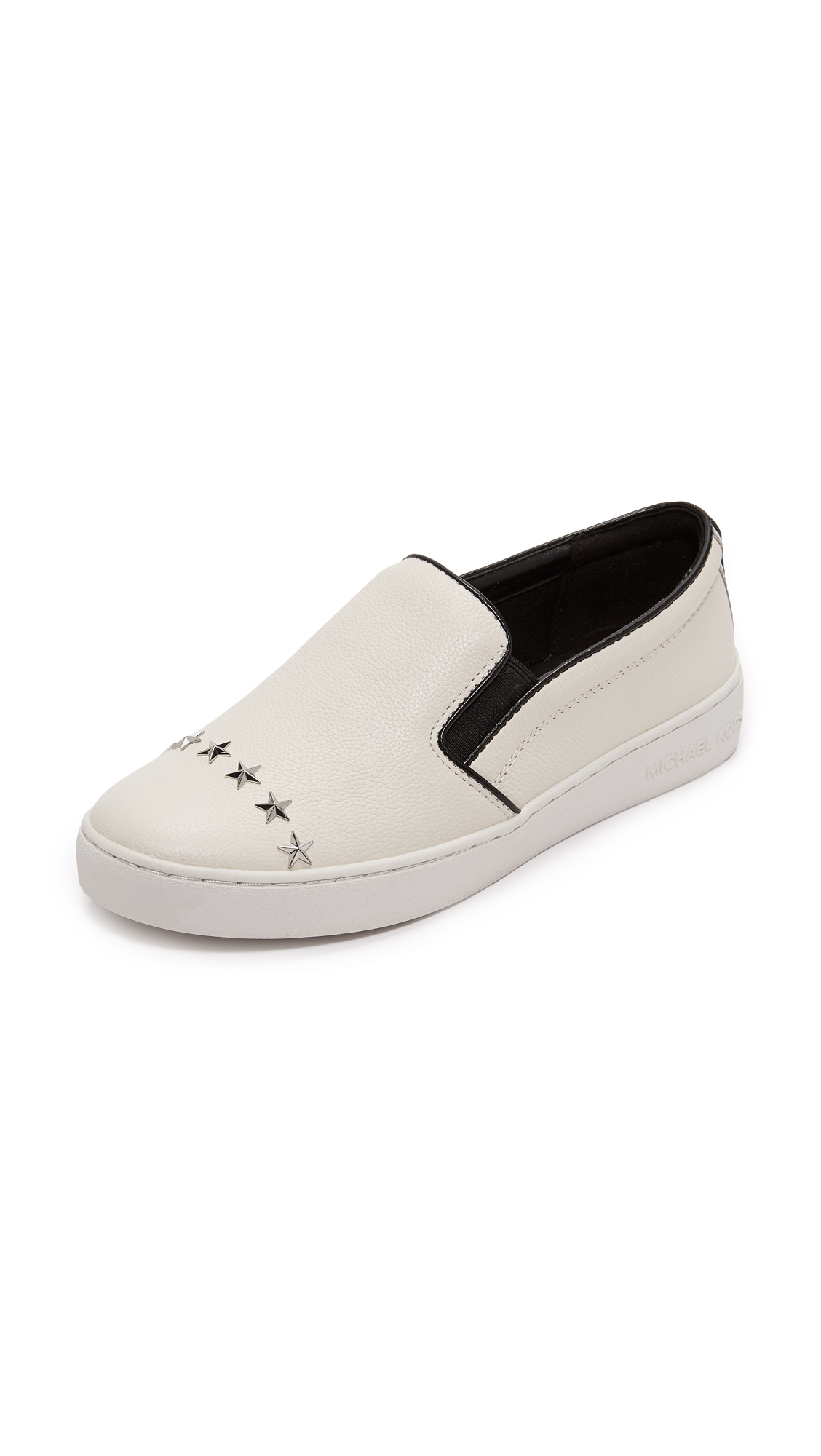 MICHAEL Michael Kors Keaton Star Studded Platform Slip On Sneakers - Optic White/Silver