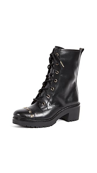 MICHAEL Michael Kors Cody Star Studded Combat Boots In Black