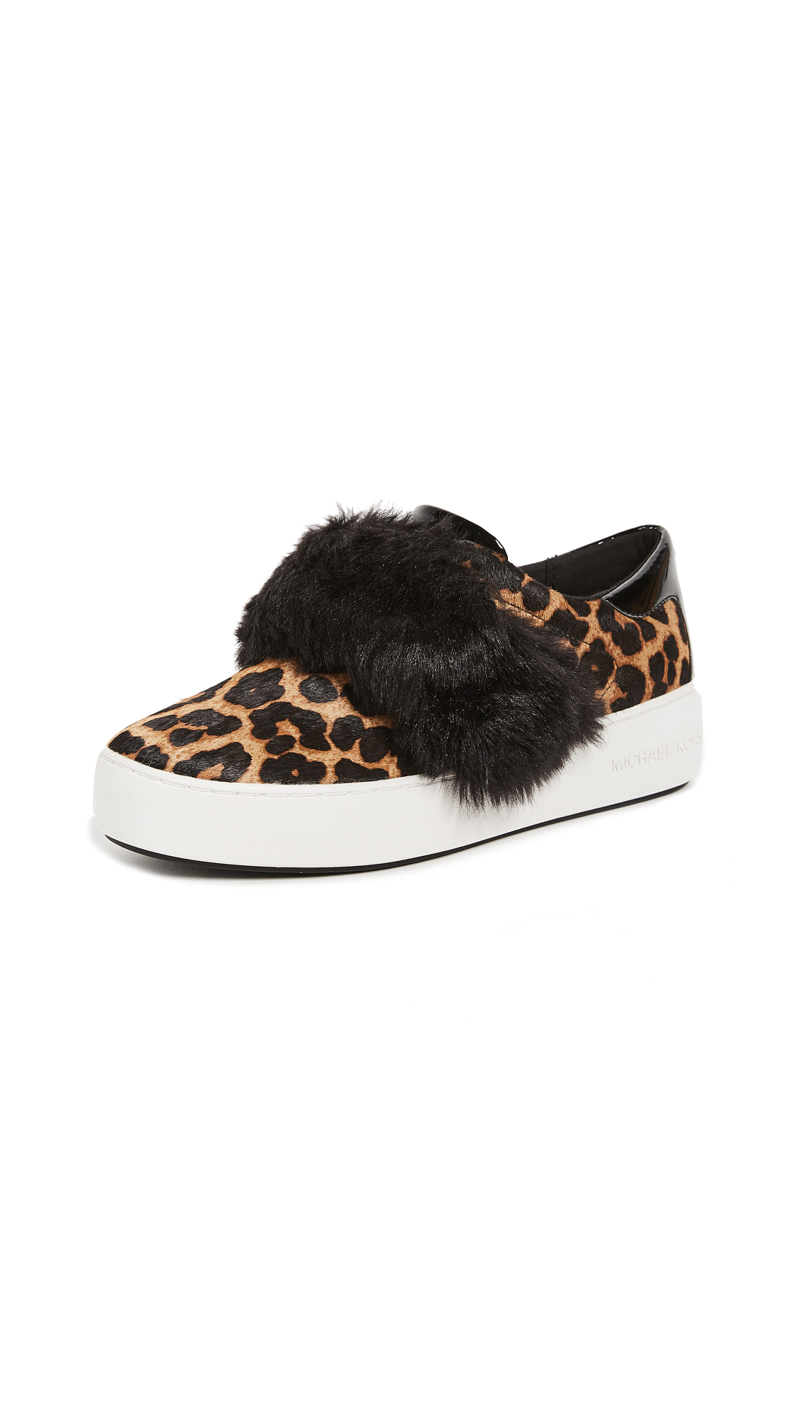 MICHAEL Michael Kors Maven Faux Fur Haircalf Platform Sneakers - Natural/Black