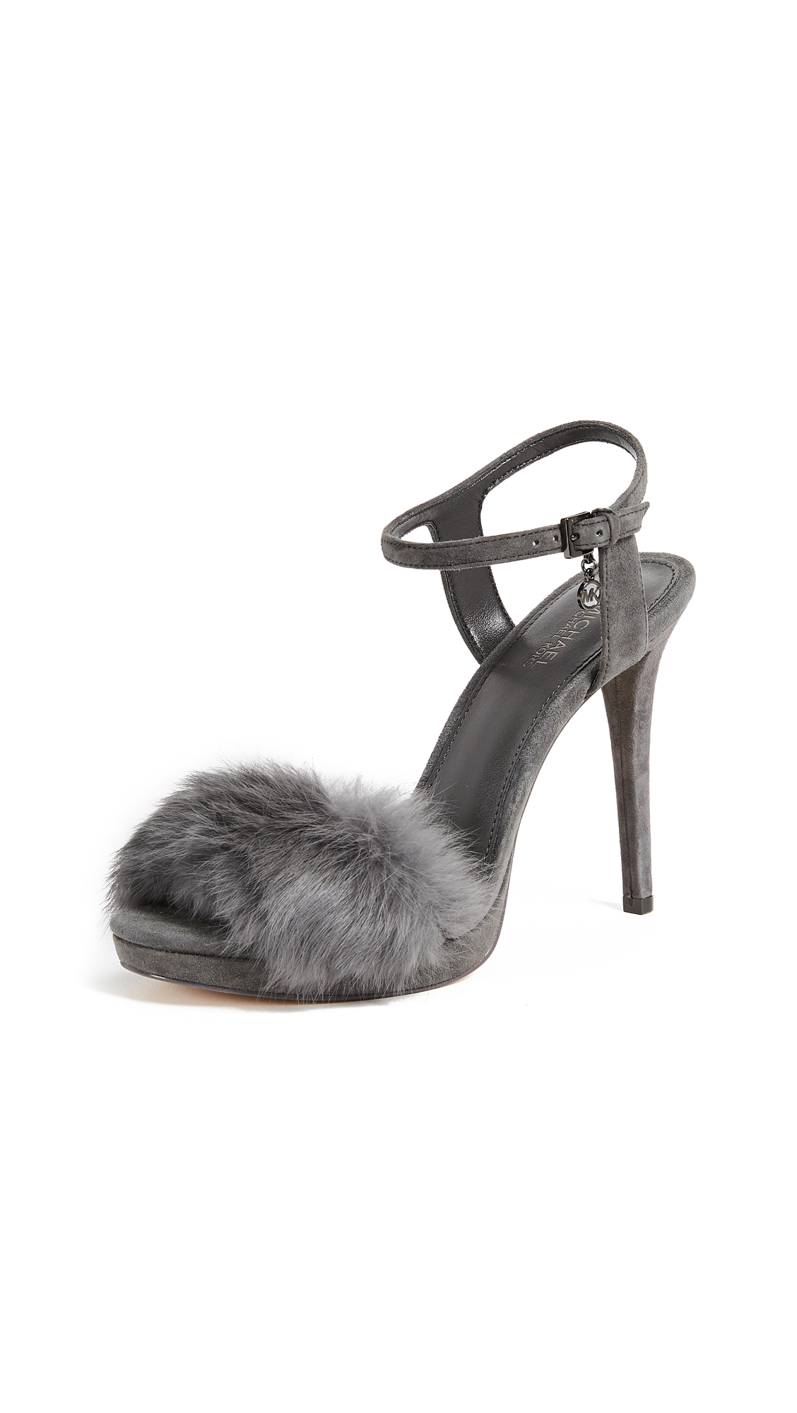 MICHAEL Michael Kors Faye Fur Sandals - Charcoal