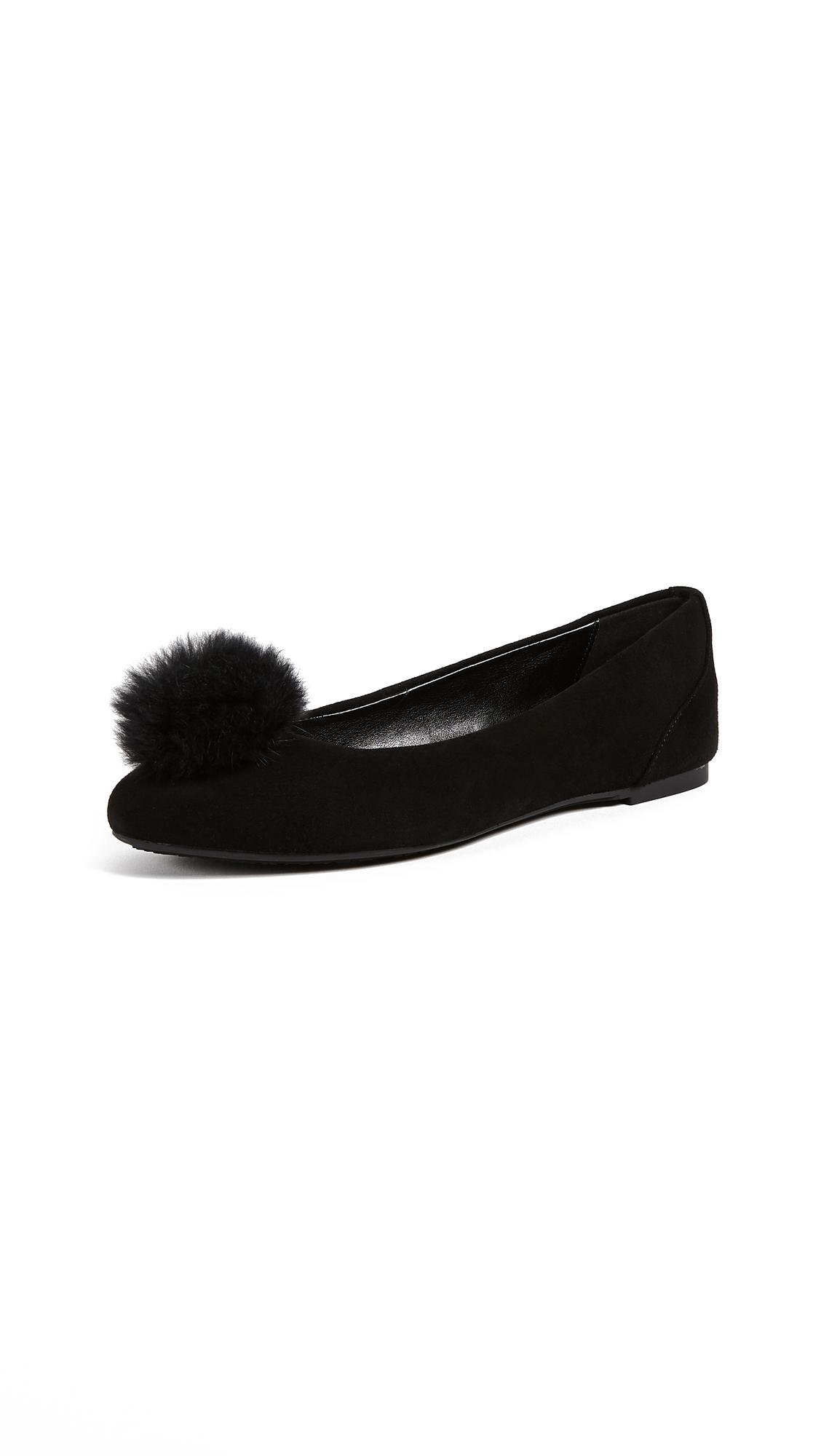 MICHAEL Michael Kors Remi Fur Pom Pom Ballet Flats - Black