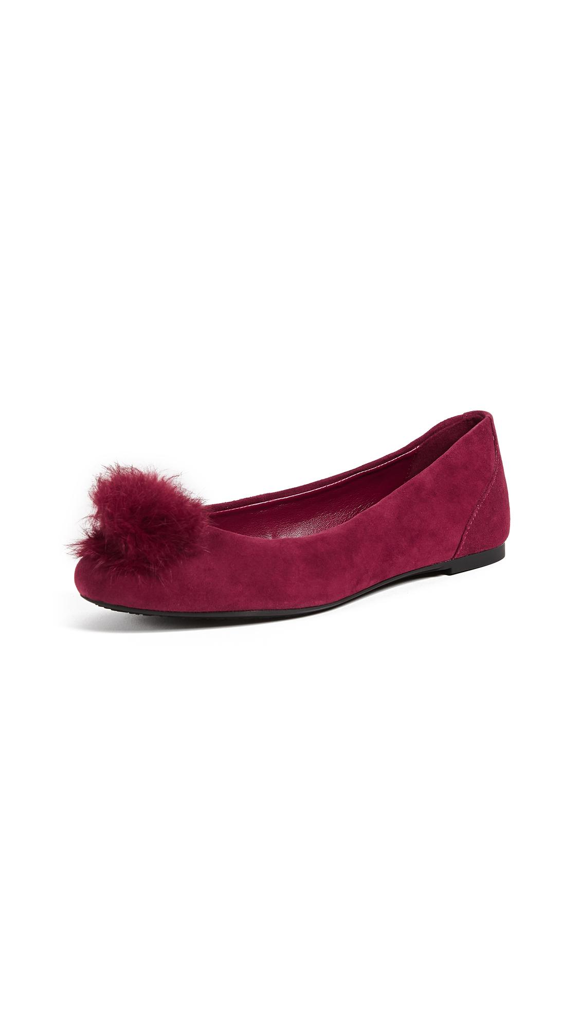 MICHAEL Michael Kors Remi Fur Pom Ballet Flats - Mulberry
