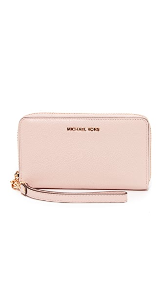 MICHAEL Michael Kors Large Flat Phone Wristlet In Soft Pink