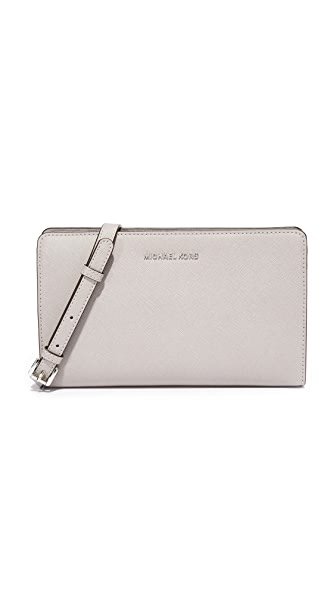 MICHAEL Michael Kors Large Cross Body Clutch - Pearl Grey