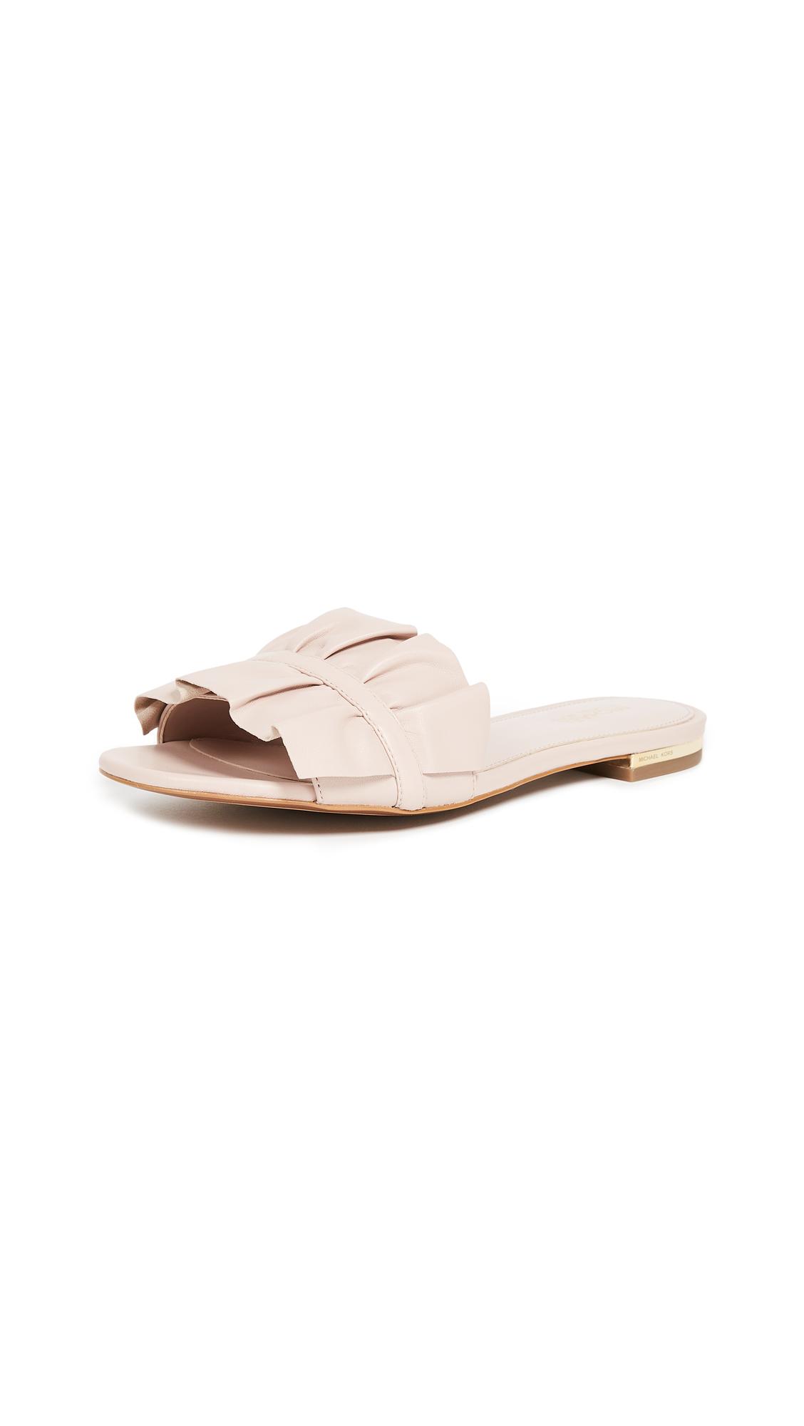 MICHAEL Michael Kors Bella Ruffle Slides - Soft Pink