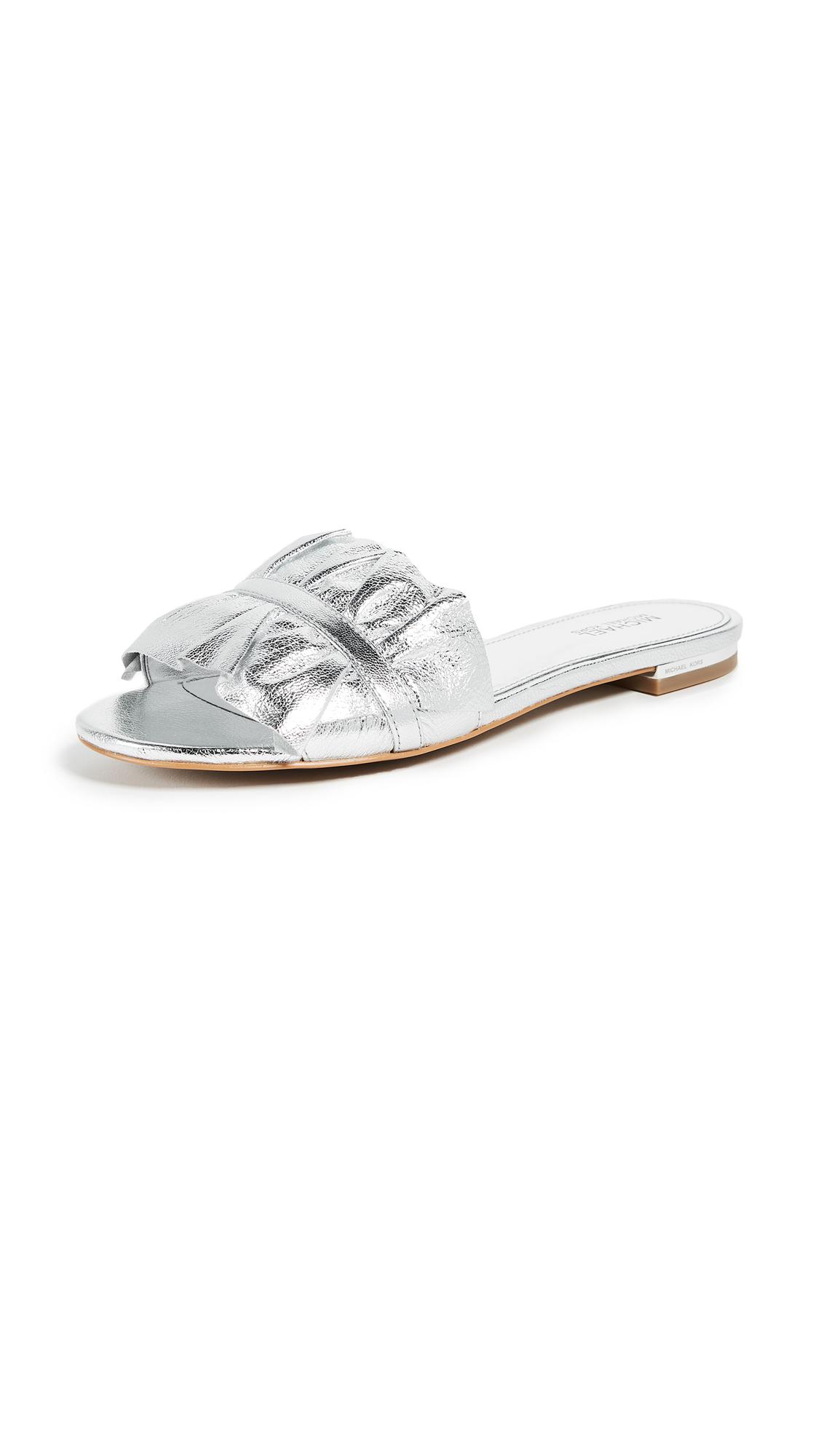 MICHAEL Michael Kors Bella Ruffle Slides - Silver