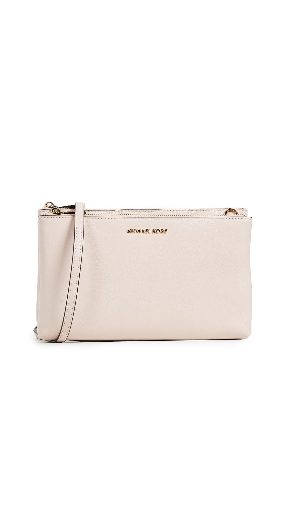 Michael Michael Kors Double Zip Cross Body Bag In Soft Pink ... 2ae6deb921237