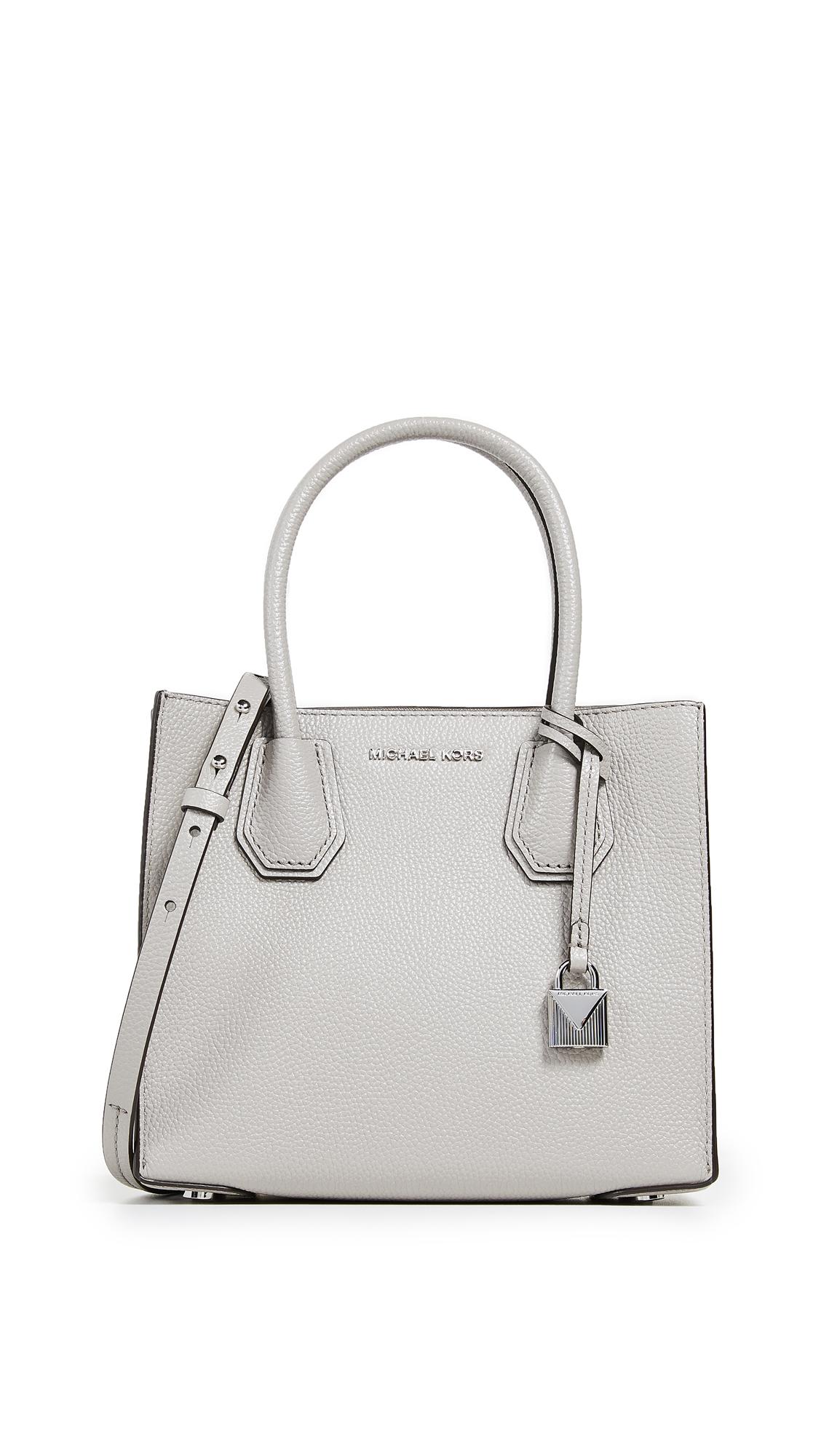 d0c7b886e061 Michael Michael Kors Studio Mercer Medium Leather Messenger In Pearl Grey