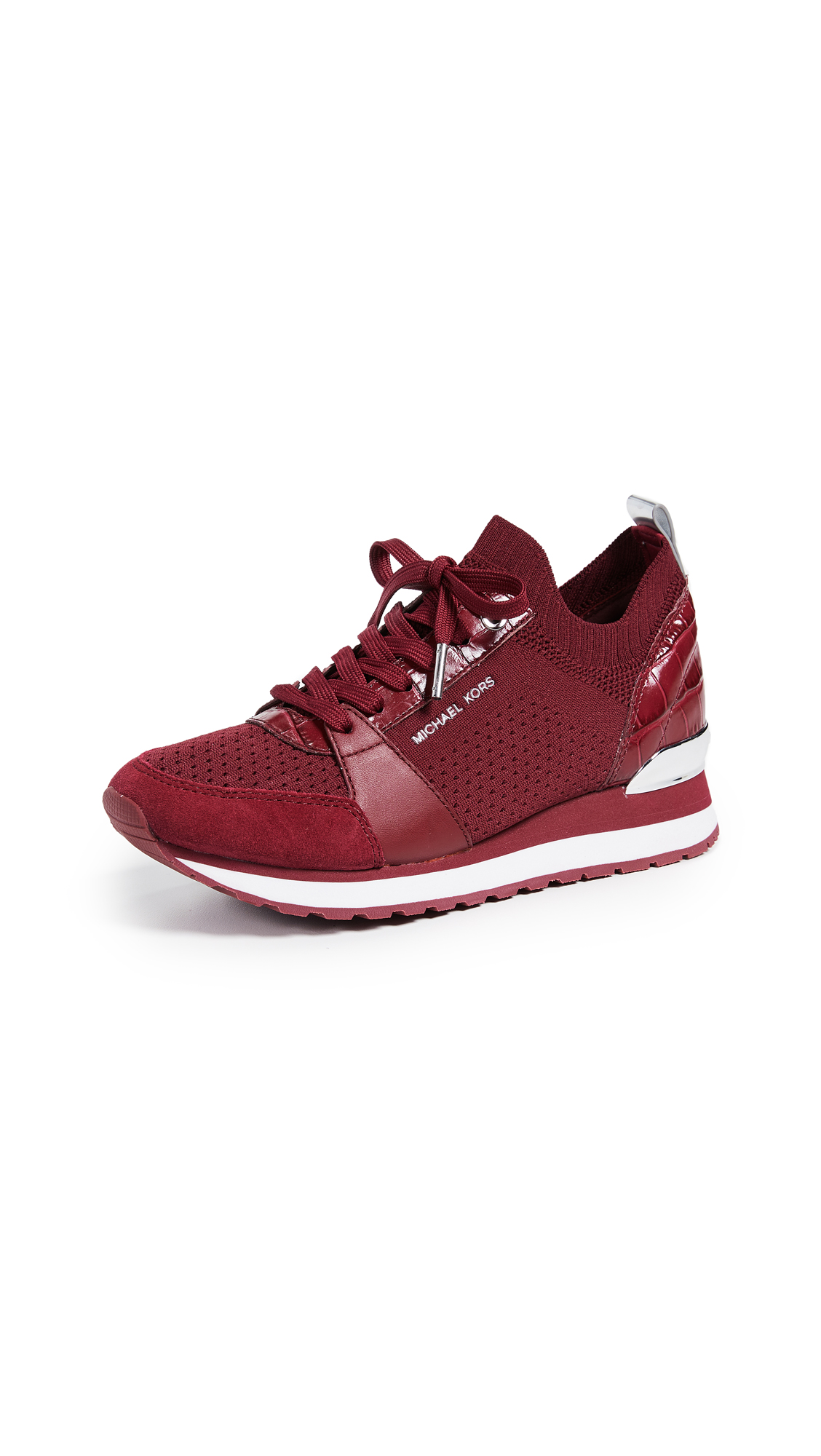 MICHAEL Michael Kors Billie Knit Trainer Sneakers - Maroon