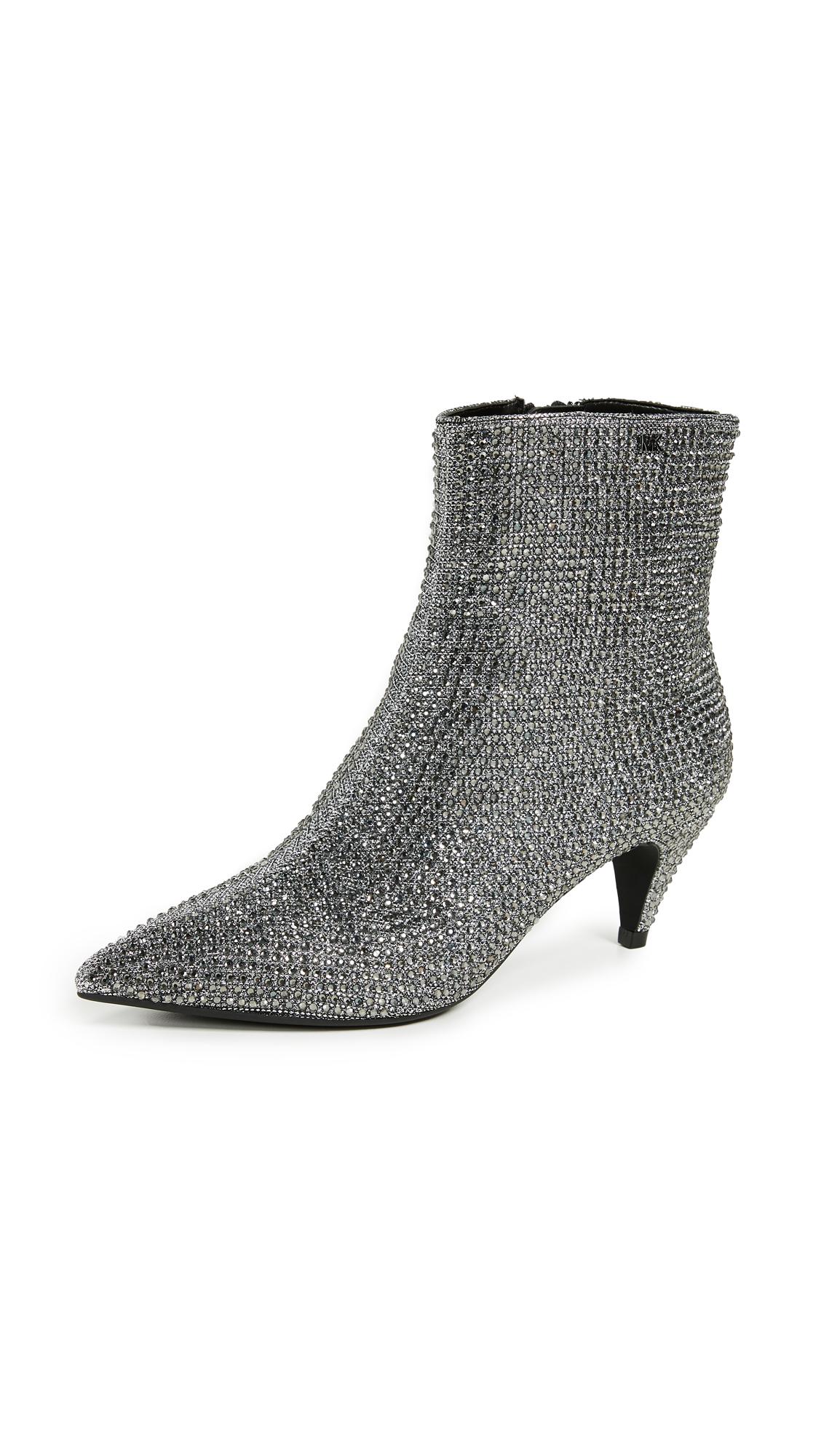 MICHAEL Michael Kors Blaine Flex Kitten Heel Booties - Black/Silver