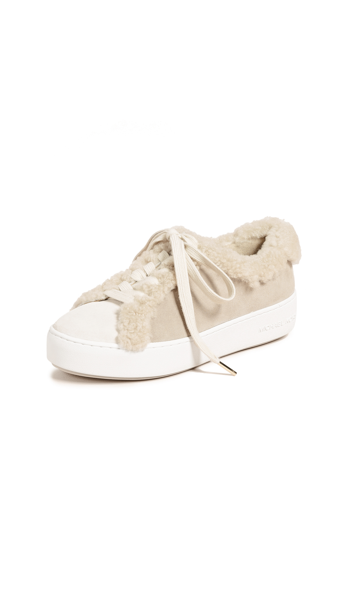 MICHAEL Michael Kors Poppy Lace Up Shearling Sneakers - Light Cream