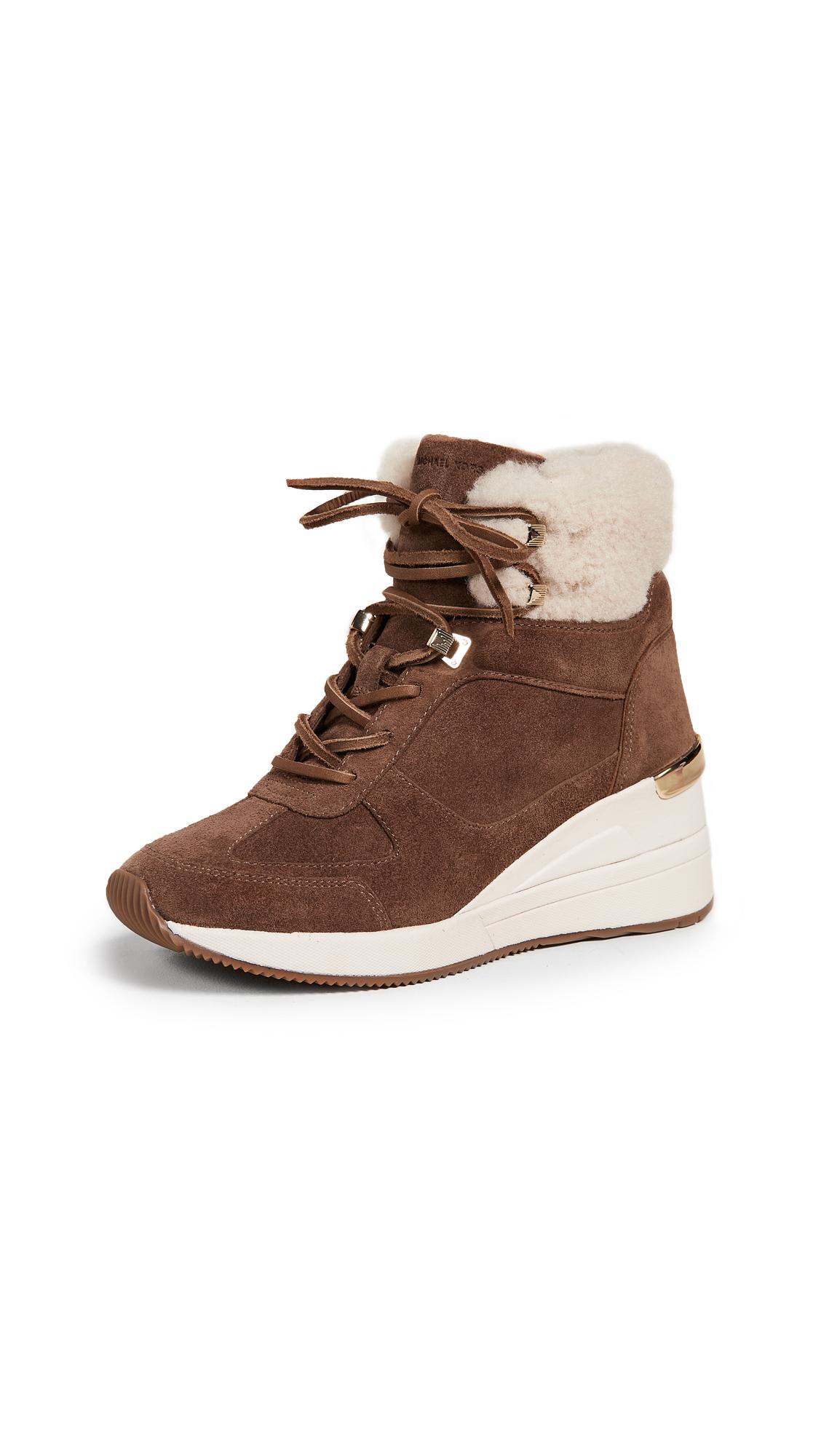 MICHAEL Michael Kors Liv Shearling Sneakers - Dark Caramel