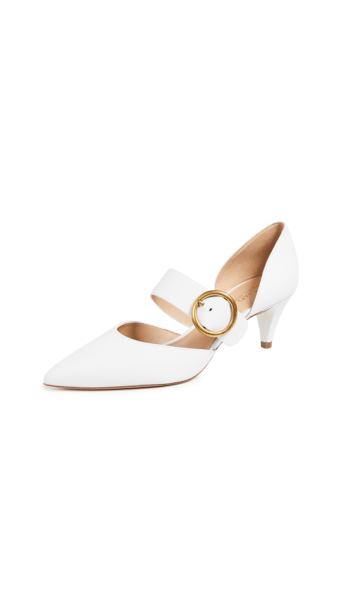 MICHAEL Michael Kors Estelle Kitten Heel Pumps - Optic White