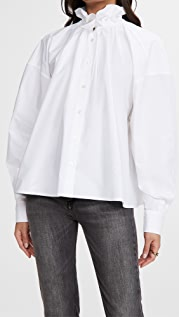 MM6 Maison Margiela Ruffle Neck Poplin Shirt