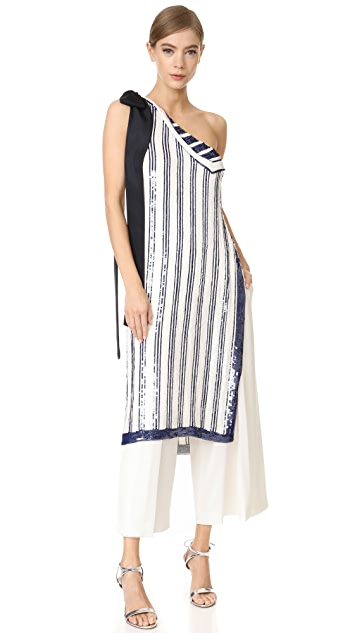 Monse One Shoulder Striped Top