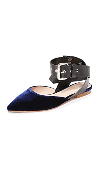 Monse Velvet Flats - Midnight Blue