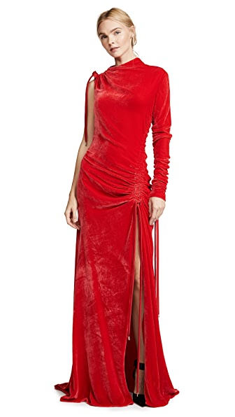 Monse Velvet Drawstring Gown In Red