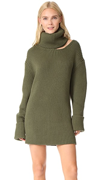 Monse Cutout Turtleneck Dress In Olive