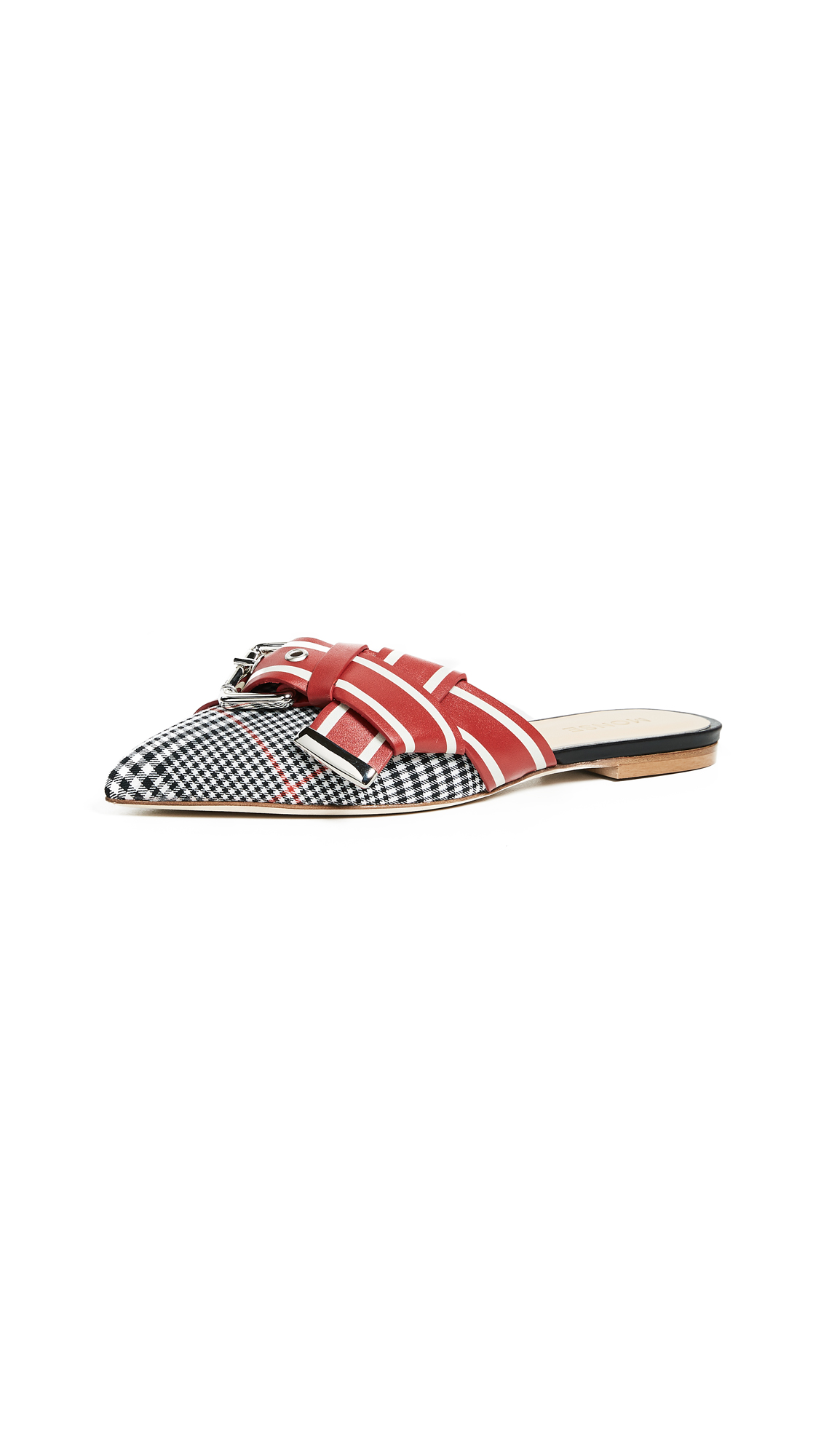 Photo of Monse Glen Plaid Racing Stripe Mules - buy Monse shoes