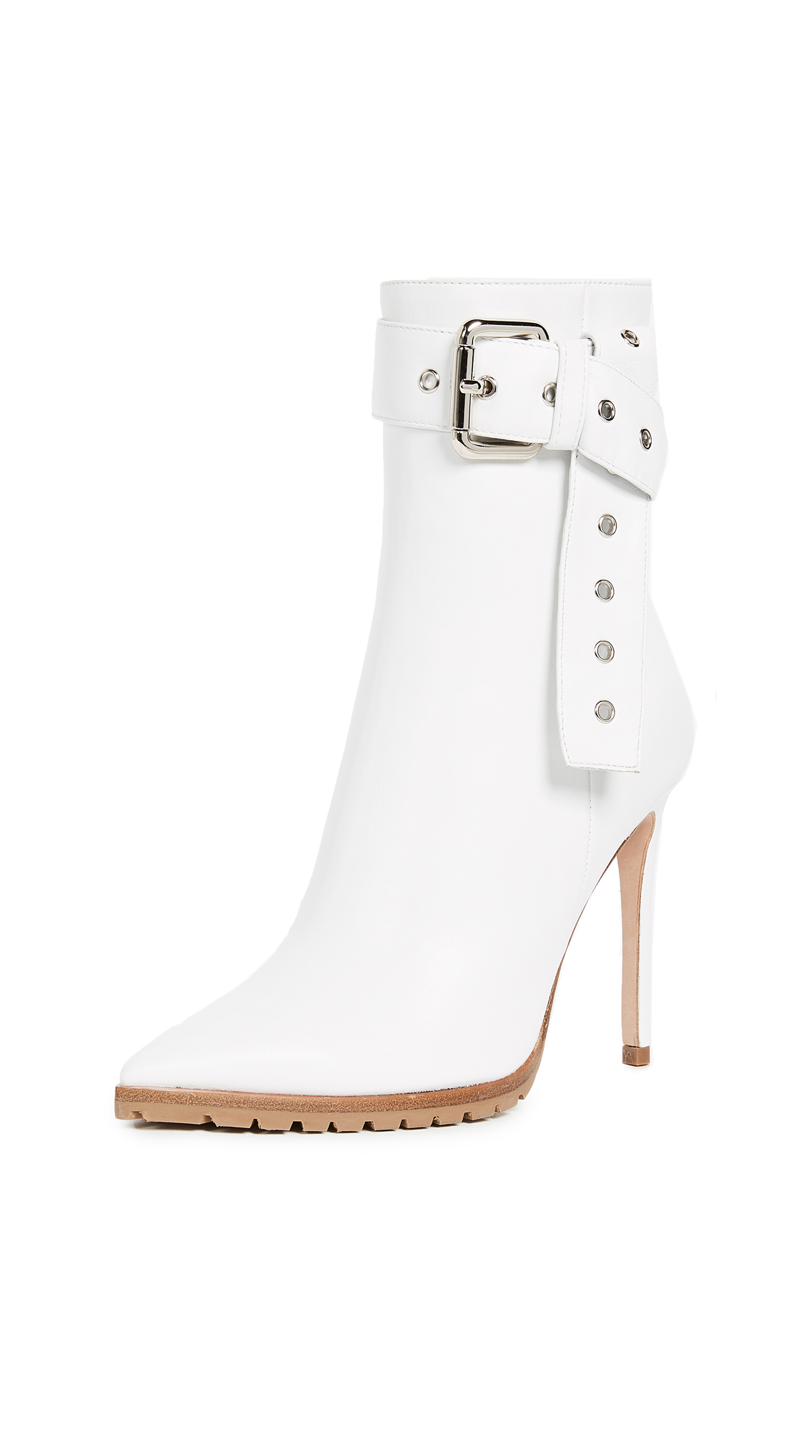 Monse Leather Booties - White