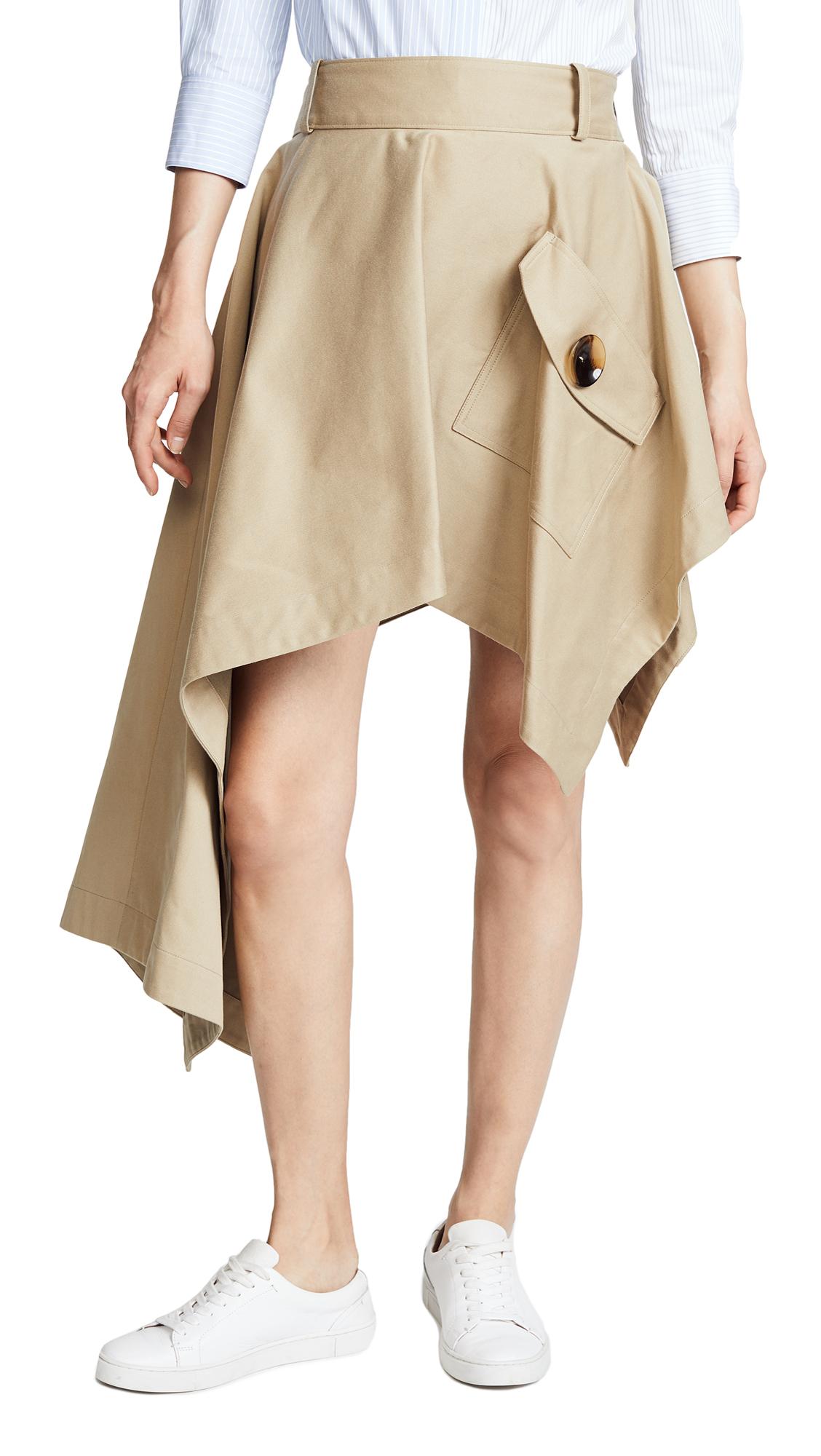 Monse Asymmetrical Skirt with Pocket In Khaki