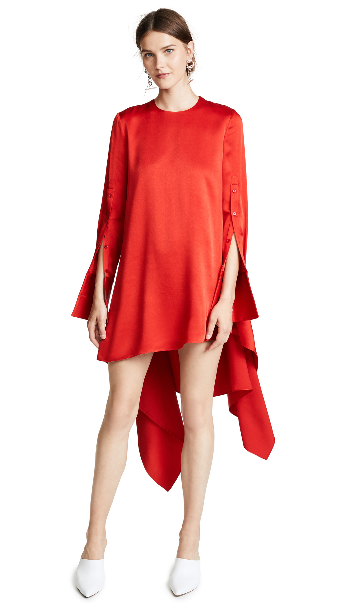 Monse Button Sleeve Flare Dress