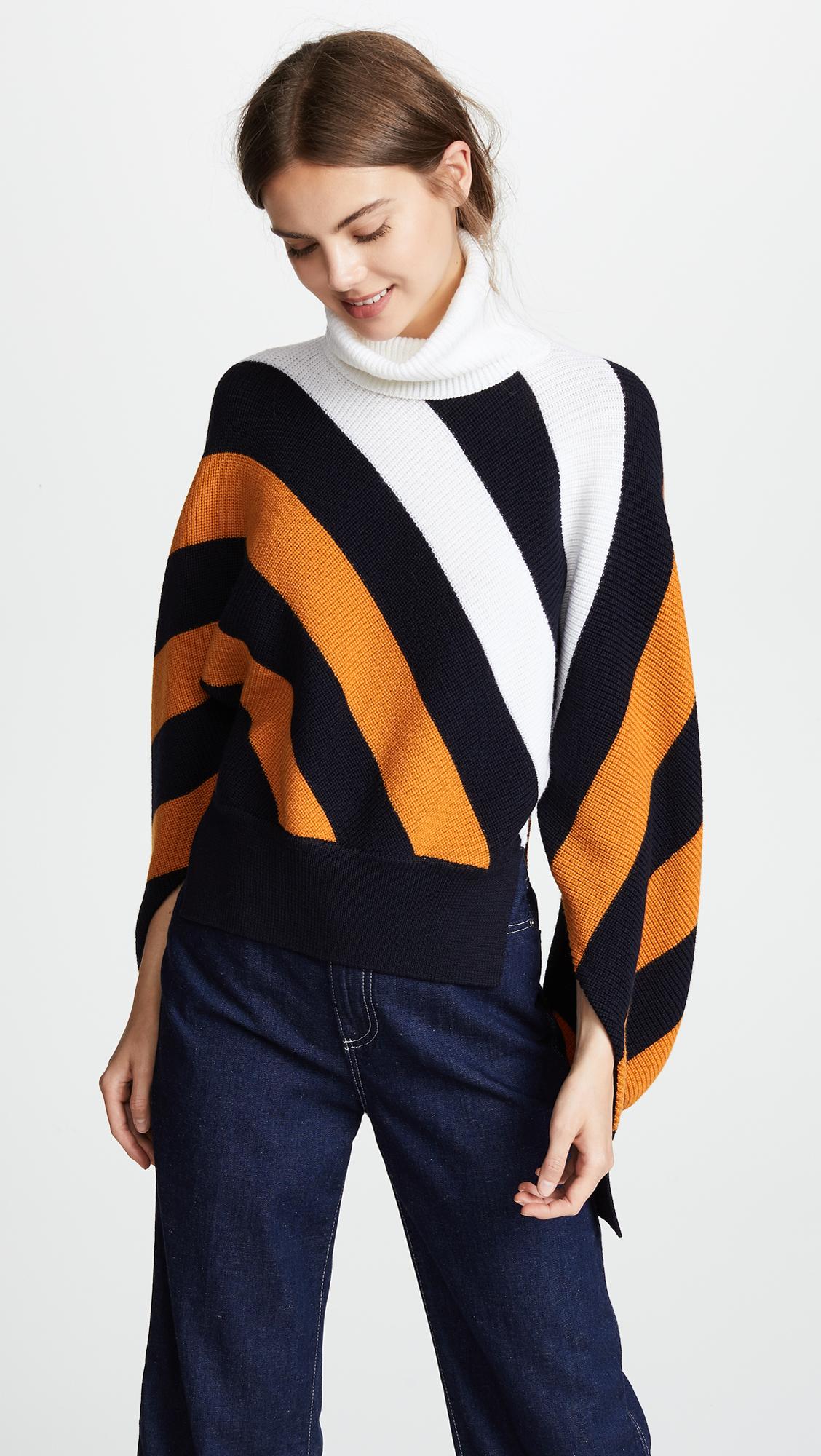 Monse Diagonal Stripe Wool Turtleneck Sweater  8f00709d6