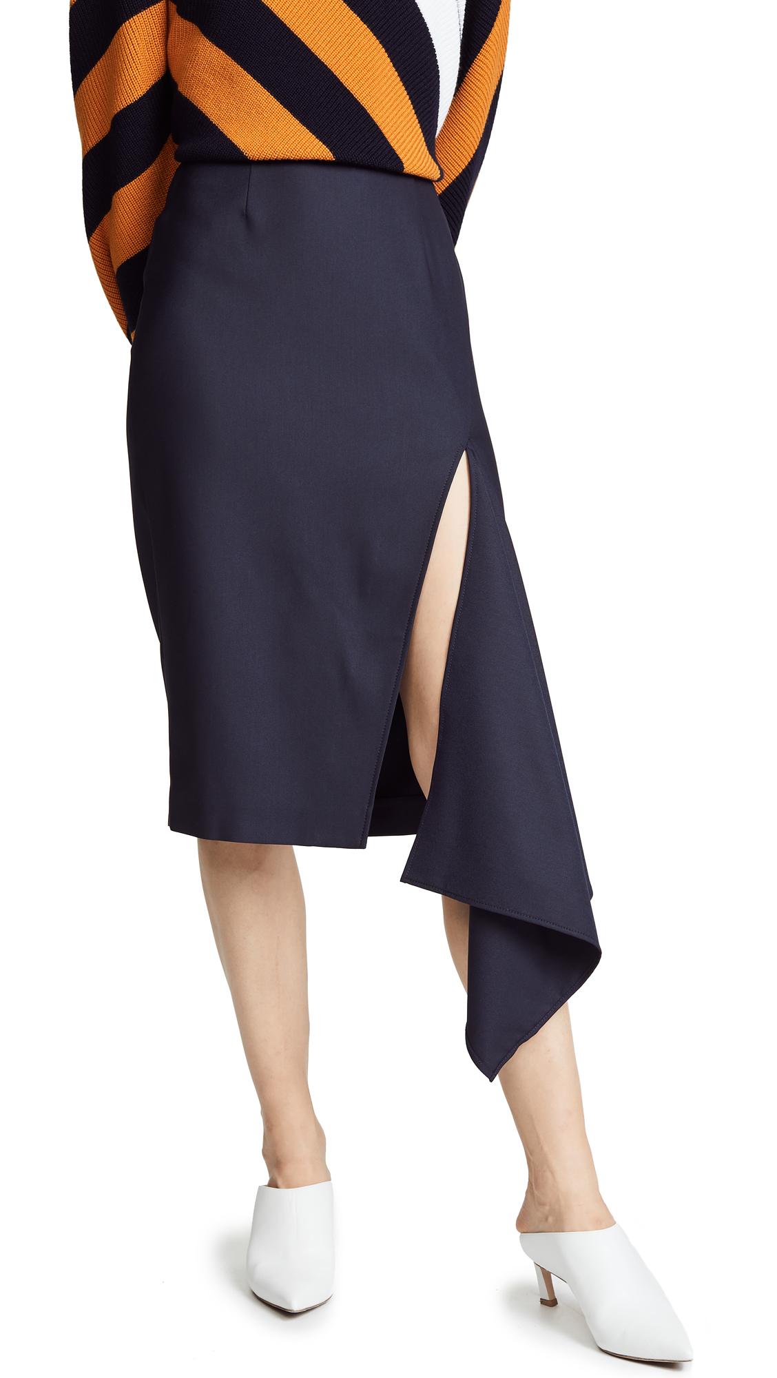 Monse Stretch Tux Slash Skirt In Navy