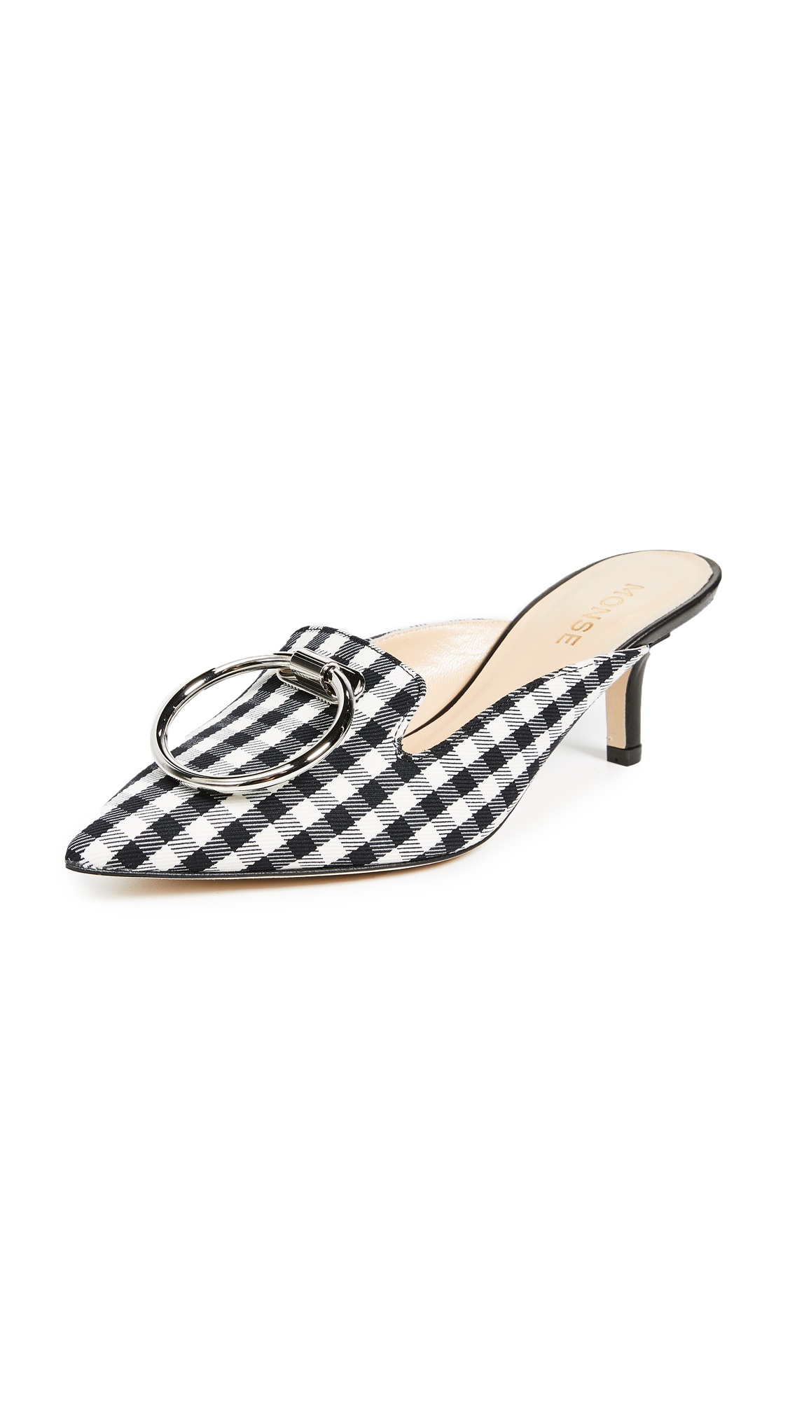 Gingham Mules in Black
